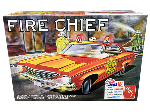 Skill 2 Model Kit 1970 Chevrolet Impala Fire Chief 2 in 1 Kit 1/25 Scale Model by AMT