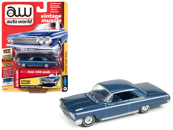 1962 Chevrolet Impala Nassau Blue Limited Edition to 4,400 pieces Worldwide 1/64 Diecast Model Car by Autoworld