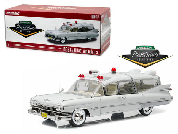 1959 Cadillac Ambulance White Precision Collection Limited Edition 1/18 Diecast Model Car by Greenlight