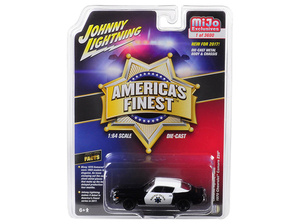 "1970 Chevrolet Camaro Z28 California Highway Patrol (CHP) Black and White ""America's Finest"" Limited Edition to 3,600 pieces Worldwide 1/64 Diecast Model Car by Johnny Lightning"