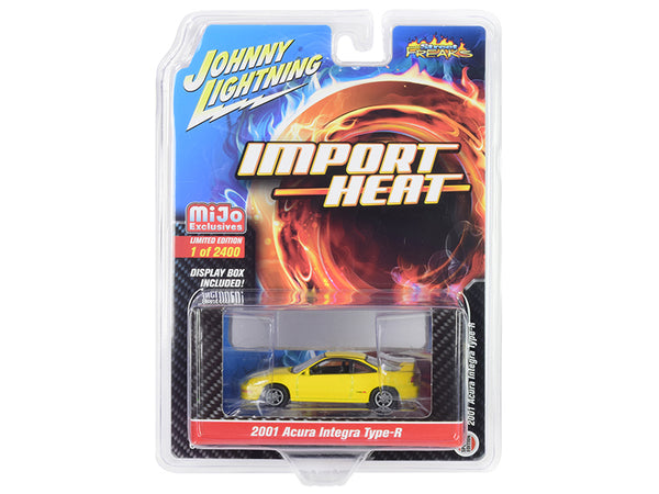 "2001 Acura Integra Type R Yellow ""Import Heat"" Limited Edition to 2,400 pieces Worldwide 1/64 Diecast Model Car by Johnny Lightning"