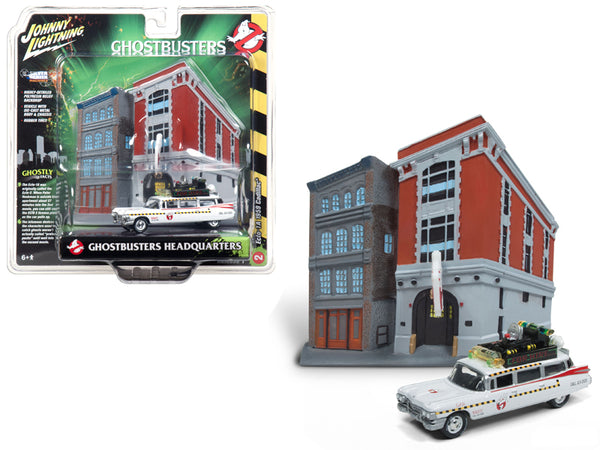 "1959 Cadillac Ecto-1A Ambulance with Firehouse Exterior Diorama from ""Ghostbusters II"" (1989) Movie 1/64 Diecast Model by Johnny Lightning"