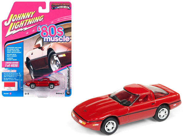 "1988 Chevrolet Corvette Bright Red ""80's Muscle"" Limited Edition to 4,036 pieces Worldwide 1/64 Diecast Model Car by Johnny Lightning"
