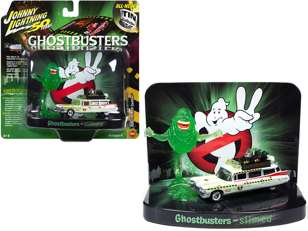 "1959 Cadillac Ecto-1A Ambulance (Slimed) with Slimer Figurine ""Ghostbusters"" Movie Diorama ""Johnny Lightning 50th Anniversary"" 1/64 Diecast Model Car by Johnny Lightning"