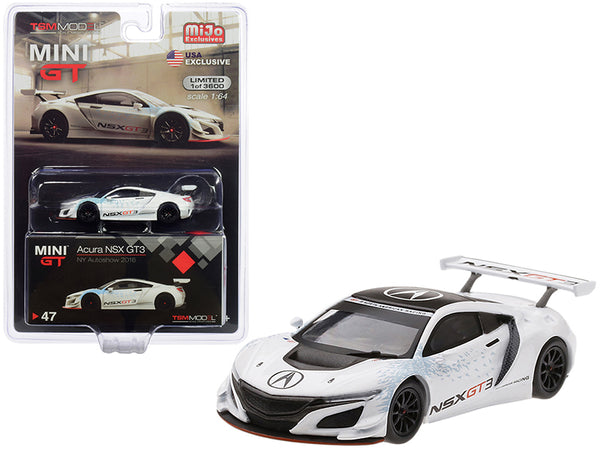 "Acura NSX GT3 White ""New York Auto Show 2016"" Limited Edition to 3,600 pieces Worldwide 1/64 Diecast Model Car by True Scale Miniatures"