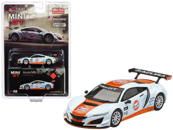 "Acura NSX GT3 #19 ""Gulf Racing"" Light Blue and Orange Limited Edition to 4,800 pieces Worldwide 1/64 Diecast Model Car by True Scale Miniatures"