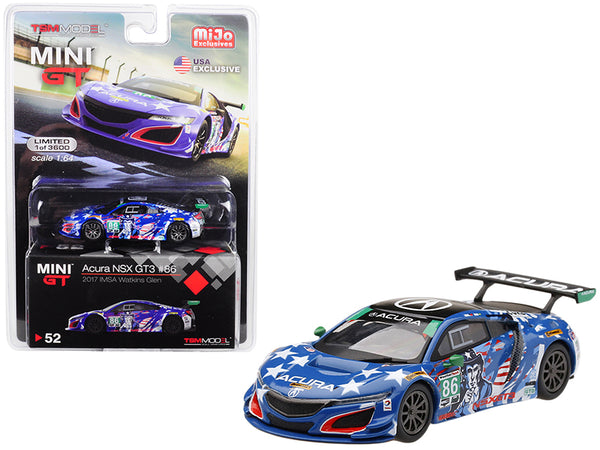 "Acura NSX GT3 #86 ""Uncle Sam"" 2017 IMSA Watkins Glen Limited Edition to 3,600 pieces Worldwide 1/64 Diecast Model Car by True Scale Miniatures"