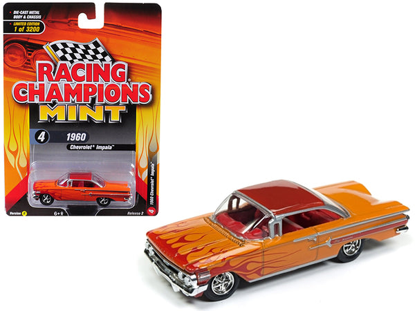 1960 Chevrolet Impala Orange with Red Flames Limited Edition to 3,200 pieces Worldwide 1/64 Diecast Model Car by Racing Champions