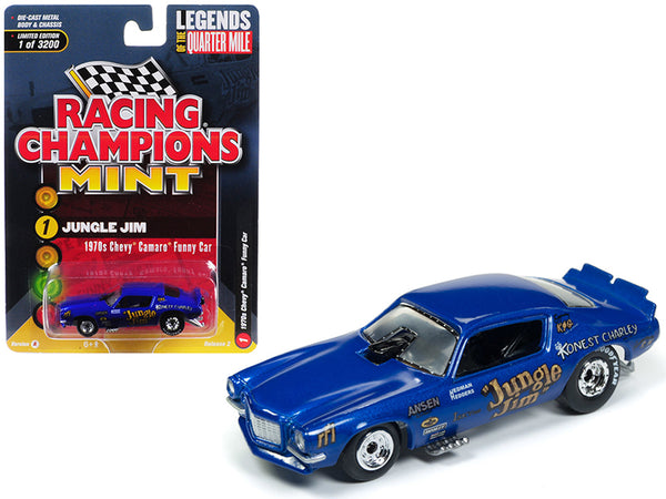 "1970 Chevrolet Camaro Funny Car ""Jungle Jim"" Blue Limited Edition to 3,200 pieces Worldwide 1/64 Diecast Model Car by Racing Champions"