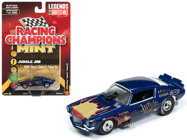 "1970 Chevrolet Camaro Funny Car ""Jungle Jim"" Blue with Flames Limited Edition to 3,200 pieces Worldwide 1/64 Diecast Model Car by Racing Champions"