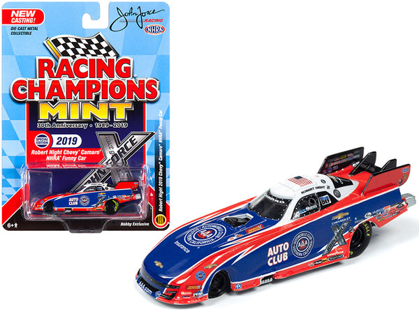 "2019 Chevrolet Camaro NHRA Funny Car ""AAA"" Robert Hight ""John Force Racing"" ""Racing Champions 30th Anniversary"" (1989-2019) 1/64 Diecast Model Car by Racing Champions"
