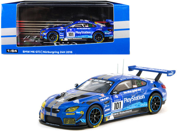 BMW M6 GT3 #101 M. Henkola / G. Richardson / M. Sandritter / K. Yamauchi Nurburgring 24H (2016) 1/64 Diecast Model Car by Tarmac Works
