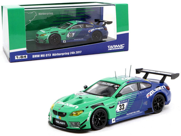 "BMW M6 GT3 #33 P. Dumbreck/ M. Seefried/ A. Imperatori/ S. Dusseldorp ""Falken Tire"" Nurburgring 24 Hours (2017) 1/64 Diecast Model Car by Tarmac Works"