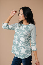 Load image into Gallery viewer, Sage Waffle Knit & Tie Dye Top