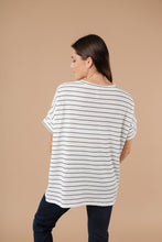 Load image into Gallery viewer, Tow The Line Striped Tee In Off White