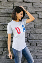 Load image into Gallery viewer, Born In The USA Graphic Tee In Baby Blue