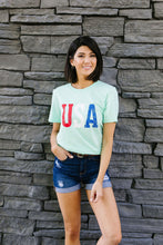 Load image into Gallery viewer, Born In The USA Graphic Tee In Mint
