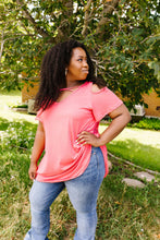 Load image into Gallery viewer, Cold Shoulder Crossed Heart Top In Coral