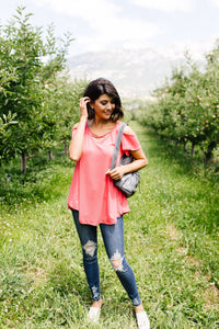 Cold Shoulder Crossed Heart Top In Coral