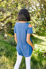 Load image into Gallery viewer, Cold Shoulder Crossed Heart Top In Denim