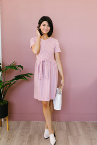 Fine Line Midi Dress In Mauve
