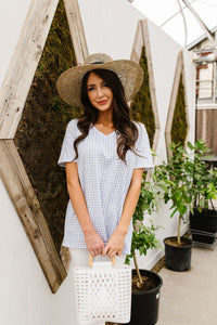 Good Girl Gingham V-neck In Baby Blue