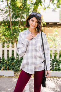 Hooded Plaid Button-Down