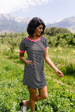 Load image into Gallery viewer, Later Skater T-shirt Dress With Hot Pink Trim