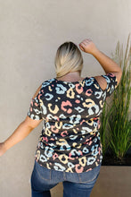 Load image into Gallery viewer, Leopard Kisses Cold Shoulder Top In Charcoal