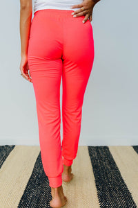 Lounging In Color Joggers In Neon Coral