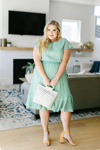 Mint Dotted Midi Dress