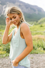 Load image into Gallery viewer, Open Weave Waffle Knit Tank In Mint