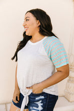 Load image into Gallery viewer, Raglan Stripes Tie Front Tee In Pale Blue