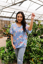 Load image into Gallery viewer, Satin Rose Blouse In Blue