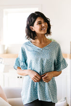 Load image into Gallery viewer, Silky Spots Ruffle Sleeve Blouse In Sky Blue