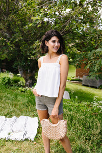 Southern Living Eyelet Trimmed Tank