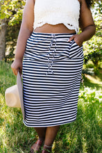 Load image into Gallery viewer, Striped Drawstring Skirt In Navy