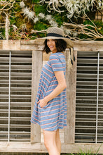 Load image into Gallery viewer, Stripes T-Shirt Dress In Blue