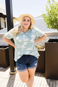 Tessa Tie Dye Top In Sage