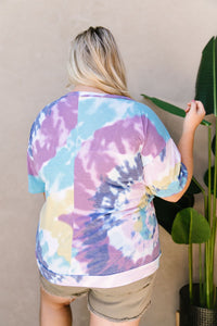 Tie Dye Swirls Top In Purple