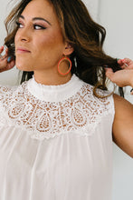 Load image into Gallery viewer, Victoria Lace Mock Neck Top In Ivory