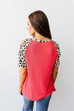 Load image into Gallery viewer, Waffle Knit Leopard Ladder Sleeve Top