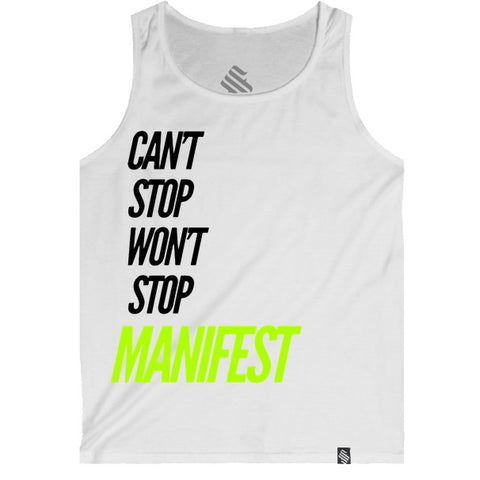 Cant't Stop Neon Yellow White Tank Top