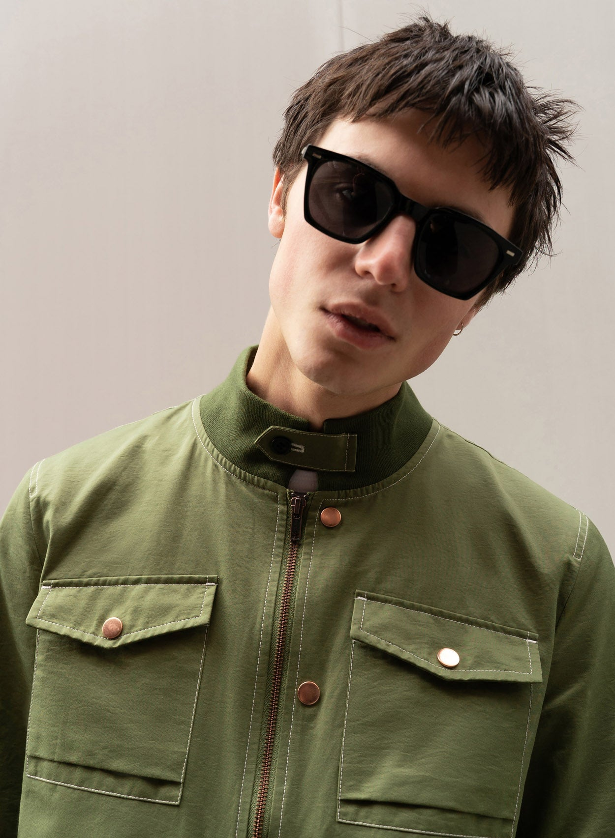 Khaki Zip Up Harrington Jacket