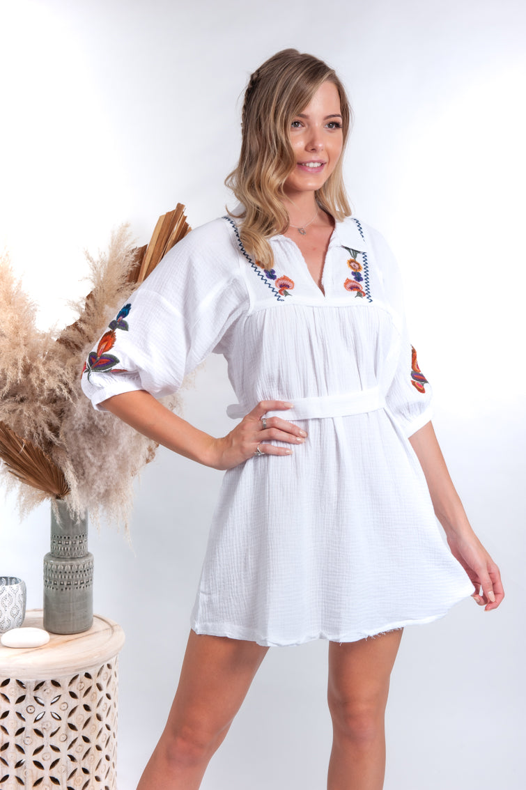 Madine Mini Dress - Acantho White Embroidered - Islandlace