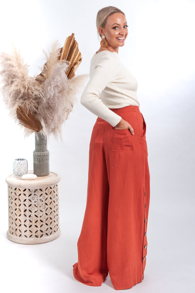 Bloom Button Linen Pants - Rust - Islandlace