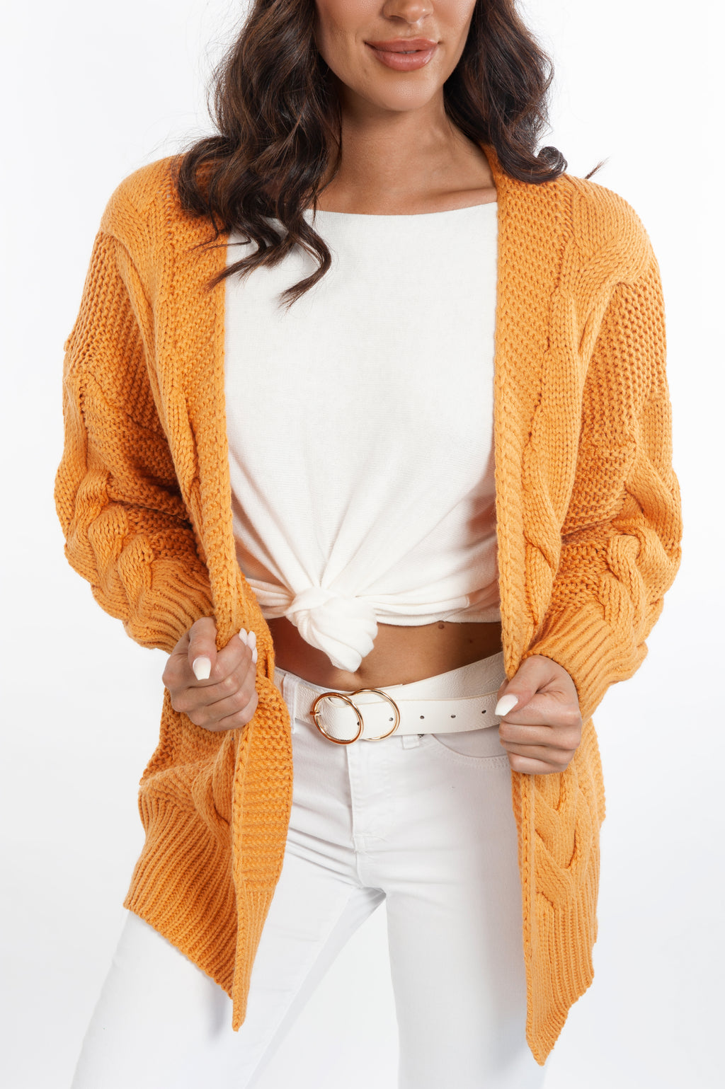 Cable Knit Cardigan - Camel - Islandlace
