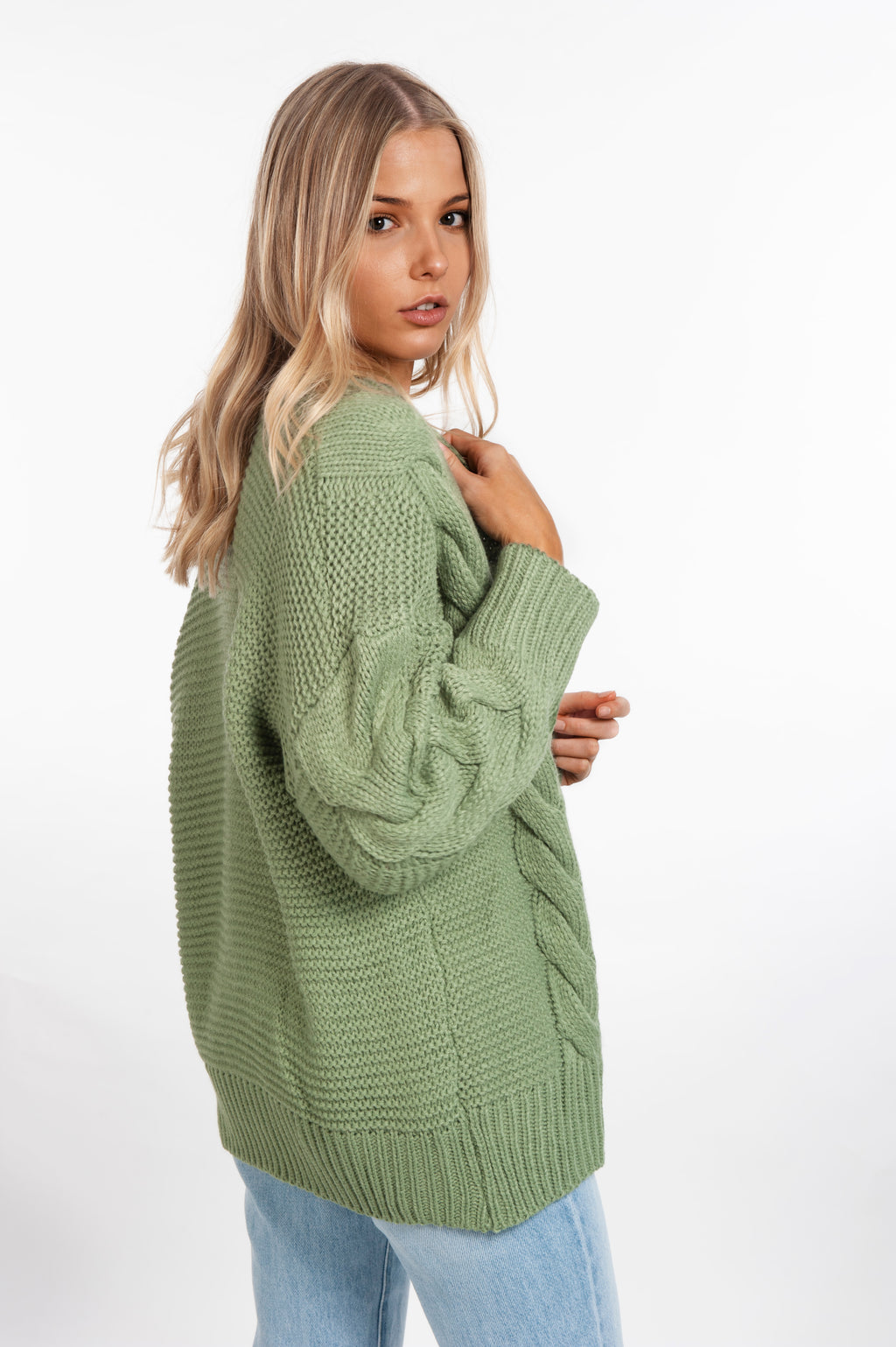 Cable Knit Cardigan - Khaki - Islandlace