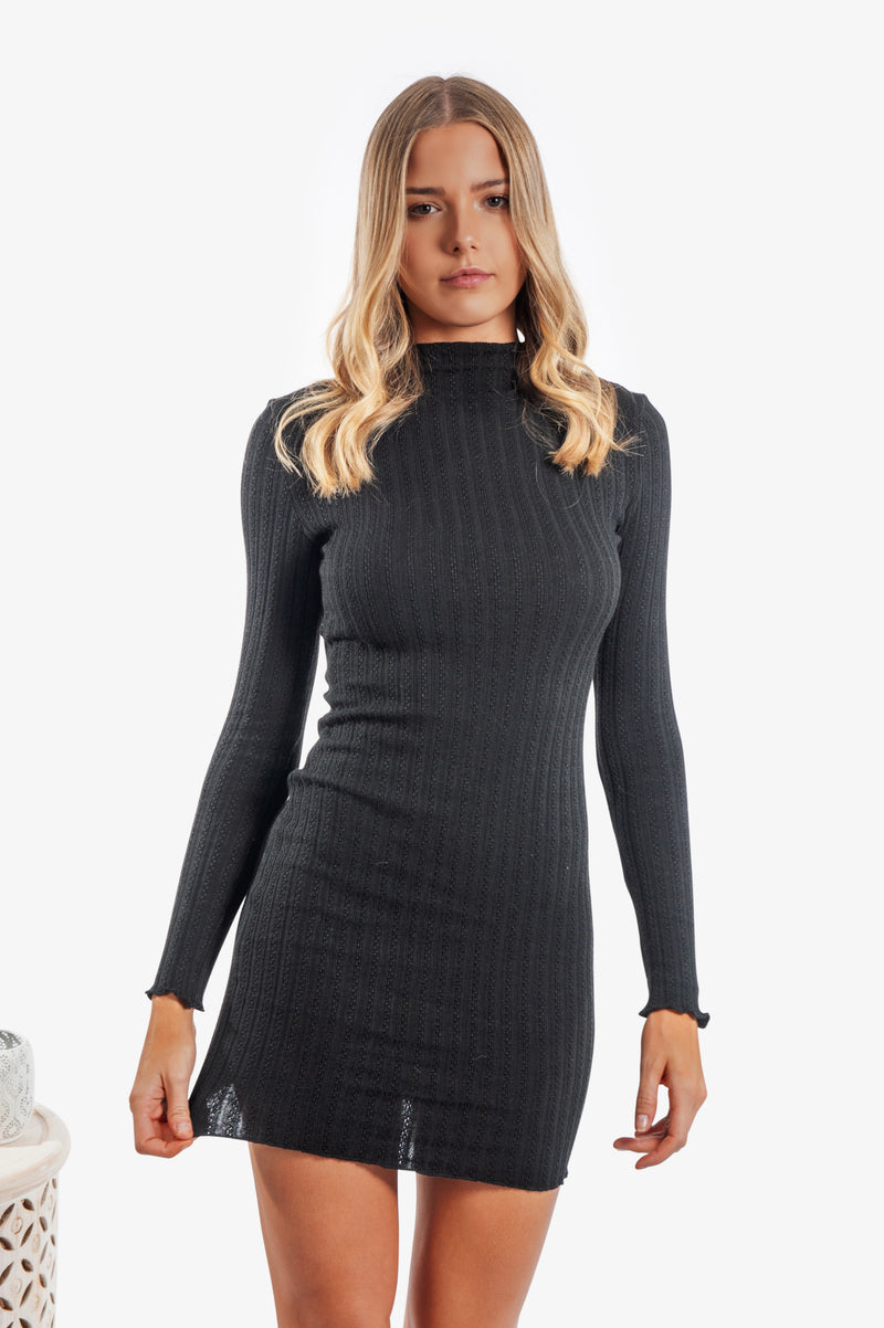 Mylee Knit Dress - Black - Islandlace