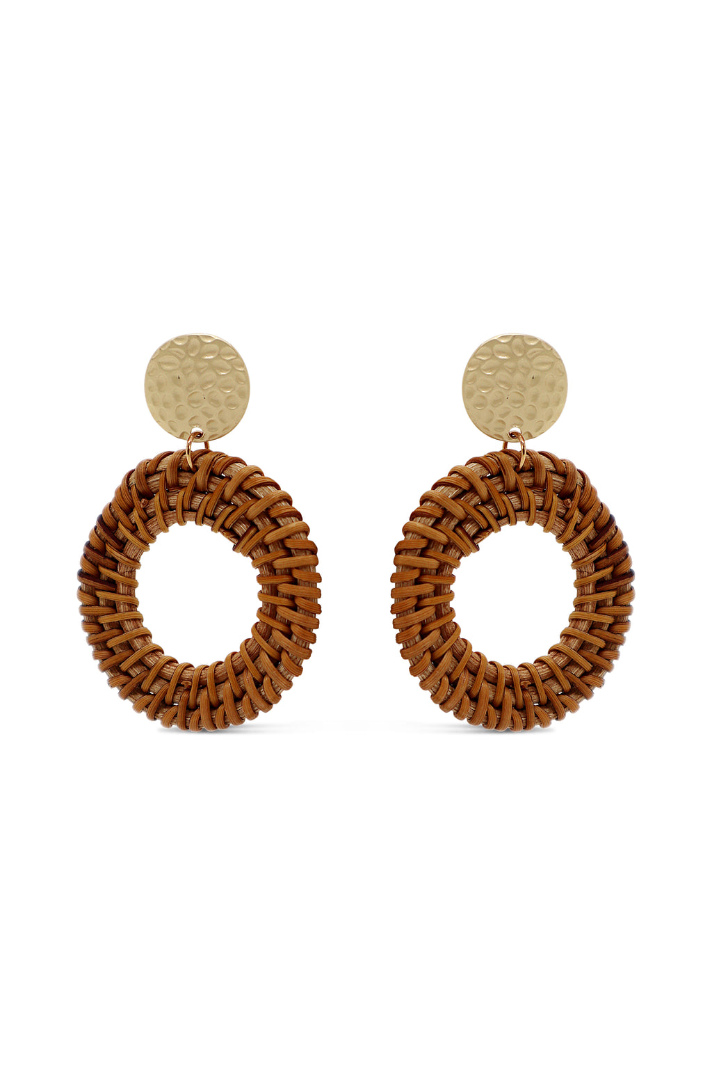 Round Rattan Earrings - Islandlace